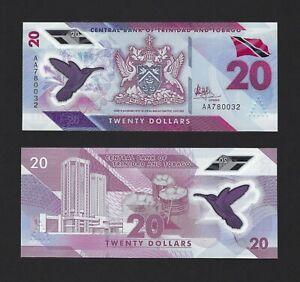 "TRINIDAD & TOBAGO 20 Dollars 2020, Most Desirable ""AA"" First Prefix, UNC Polymer"