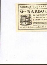 PARIS MONTMARTRE TOUTE PETITE PUBLICITE BARBOU CAVES A VINS 1913