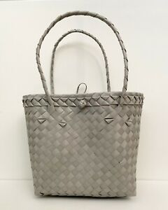 Small Plastic Woven Tote Bag (Bayong) - Gray