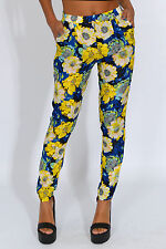 Rare London Floral High Waisted Trousers UK 6 Yellow Blue Print Holiday Party