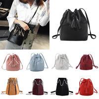 Women's Shoulder Bag PU Leather Tote Bucket Handbag Messenger Cross-body Satchel