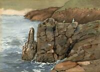 TONY STREEK Watercolour Painting ROCKY COASTLINE c1980's