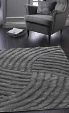Origins Dallas Contemporary Glamour Shaggy Carved Rug Charcoal 4 Sizes