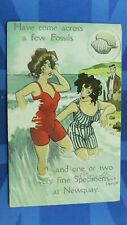 More details for newquay saucy comic postcard 1908 bathing beauty costume come across few fossils