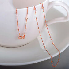 """Pure 18K Solid Rose Gold Necklace Pretty O Link Chain With Smooth Bead Xlee 18""""L"""