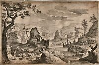 ORIGINAL ANTIQUE ETCHING  Matthäus Merian circa 1620 of painting by Anton Mirou