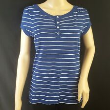 Gap Womens Henley Sz L Top Blue White Stripe Short Sleeve 100% Cotton Buttons