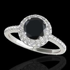 1.6 CTW Certified Vs Black Diamond Solitaire Halo Ring 10K White Gol... Lot 3402