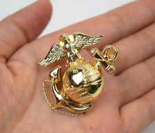 US Marine Corps USMC Emblem Cap Badge Metal Gold