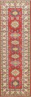 Geometric Super Kazak Oriental Vegetable Dye Runner Rug Hand-knotted Tribal 3x10