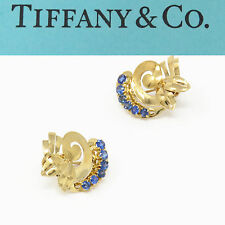 NYJEWEL Tiffany & Co. 14K Yellow Gold Sapphire Screw Back Earrings