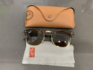 Ray-Ban RB3016  Clubmaster ,Pre-owned , Brown Gold Frame/ Brown Lens Sunglasses.