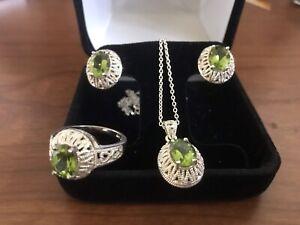 Sterling Silver Peridot Jewelry Set