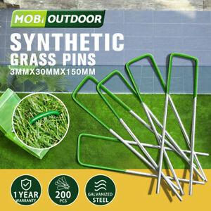 Synthetic Artificial Grass Pins 200pcs Fake Lawn Turf Weed Mat U Pegs Weedmat