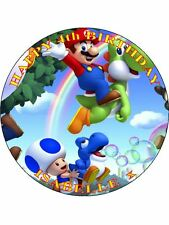 "SUPER MARIO - DESIGN 4 PERSONALIZED 7.5"" CIRCLE ICING CAKE TOPPER"