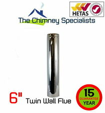 "Volcano Plus Twin Wall Insulated Flue Pipe 800mm length 6"" Chimney"