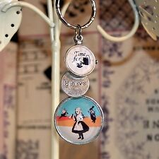 Alice in Wonderland retro style Keyring Time For Tea and Believe/Inspire charms