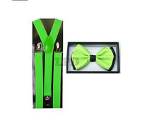 Elegant Two Tone Neon Green & Black Striped BowTie & Neon Green Suspender Set