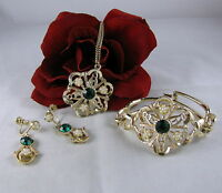 Vintage Faux Pearl &  Rhinestone  Necklace Bracelet  &  Earrings Set  CAT RESCUE