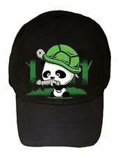 War Partners Cute Panda Bear Turtle & Squirrel Black Adjustable Cap Hat Headgear