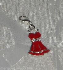 Nouveau superbe argent sterling & rouge émail robe de charme avec cz bow bracelet 2.1g