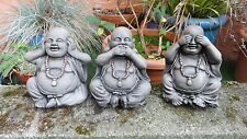3 Wise Buddhas Garden Ornaments - Hand Cast - Stone
