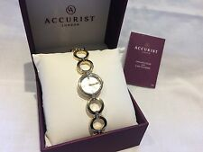 Ladies Accurist 8058 Gold Plated Crystal Set Dress Watch