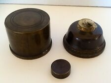 Rare WWI Solid Brass 3 Piece Trench Art Oil Lamp -- Signed Under Cap