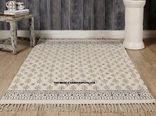 Indian Cotton Leaf Hand Block Printed Boho Off White Rug Floor Decorative Hippie