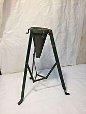 Vtg Wrought Iron Metal Christmas Tree Stand Folding w Original Green Paint
