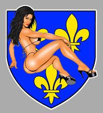 BLASON ILE DE FRANCE SEXY PINUP 12x10cm AUTOCOLLANT STICKER MOTO BA207
