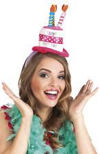 HAPPY BIRTHDAY CAKE WITH CANDLES MINI TOP HAT TIARA HEADBAND HAT