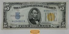1934-A $5 Yellow Seal North Africa Silver Certificate FR#2307  - #B19763