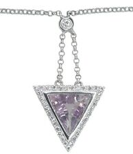 Pink Amethyst Trillion Gemstone Diamond Choker 14.5inch 18ct White Gold Necklace