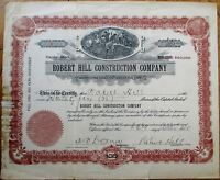'Robert Hill Construction Company' 1910 Stock Certificate - New York NY