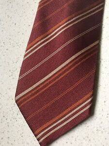 Ermenegildo Zegna Tie ITALY Pure Silk Burgundy Stripes