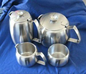 Mid Century Old Hall Connaught Four Piece Teapot Tea Set Satin Finish