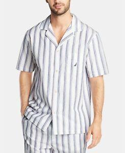 Nautica Men's Cotton Striped Short Sleeve Pajama Shirt Top White Size L NEW $45