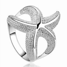 8 Pretty Women Style White Silver Plated Hollow Ring Starfish Gift Jewelry