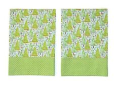 Christmas Tree Pillowcases Two Handmade standard queen Cotton New green blue
