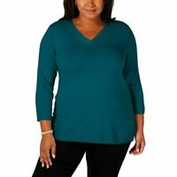 Karen Scott Womens Plus Size Top 3/4 Sleeve V Neck Luxsoft Pullover Sweater Teal