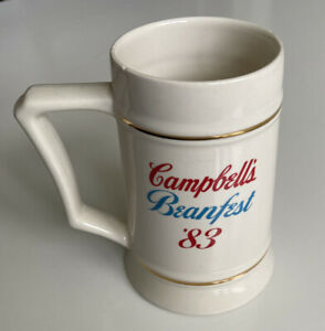 Campbell Kids Mug Beanfest 83 Large Big Stein Gold Trimmed Ceramic Collectible