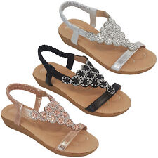 Ladies Diamante Sling Back Sandals Womens Open Toe Shoes Fashion Summer Party