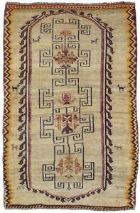 Hand-Knotted Antique Beige Tribal 5X8 Vintage Gabbeh Rug Oriental Decor Carpet