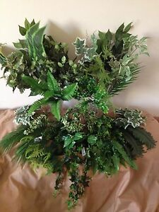 FOLIAGE BUNCHES JOBLOT fake leaves greenery bush artificial plants ivy fern palm