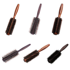 6Types Straight Twill Hair Comb Natural Boar Bristle Rolling Brush Round Barrel