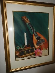 VINTAGE ORIGINAL FRAMED MATTED WATERCOLOR ANTIQUE MANDOLIN BIBLE GLASSES SIGNED