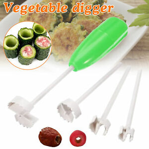 4pcs Vegetable Corer Spiral Cutter Digging Device for Stuffed Home Kitchen Tool