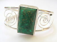HANDMADE .925 STERLING SILVER GEMSTONE CUFF BRACELET IN GREEN COPPER TURQUOISE