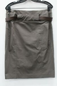 Gunex NWT $480 Taupe Stretch Belted Pencil Skirt Size 44 US 8